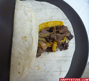 Burrito with Beef Steak, Bell Peppers and Pinto Beans